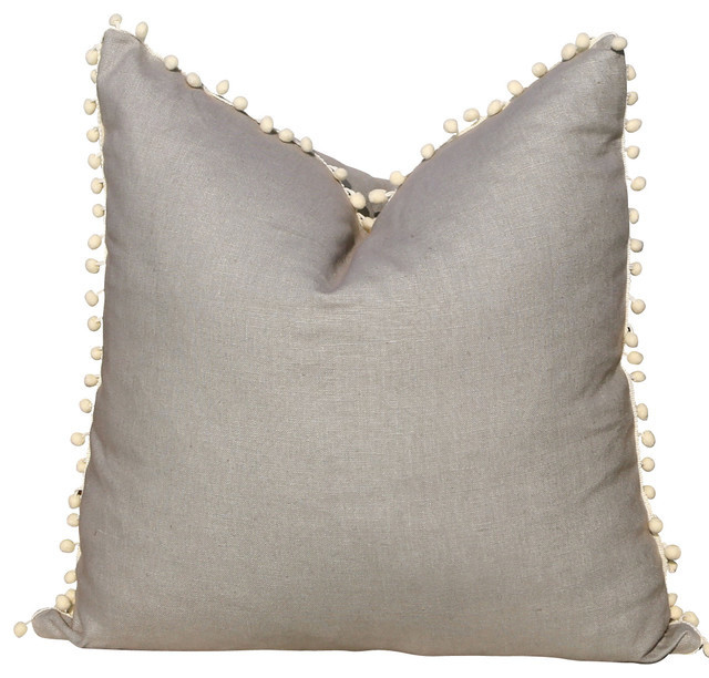 Linen Pillow Cover, Gray and Off-White