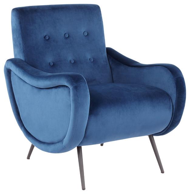 LumiSource Rafael Lounge Chair, Black Metal and Blue Velvet