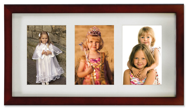 Walnut Wood Double 4x6 Matted Picture Frame - Transitional - Picture ...