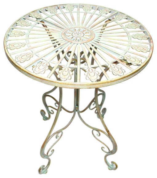 Attirant Metal Bistro Table With Curved Legs, Scrolling Heart And Peacock Tail Motif