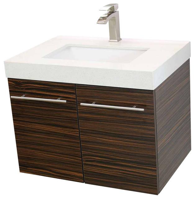 Windbay 24 Floating Vanity Sink Set Ebony White Quartz Under Mount Counter Contemporary