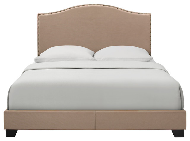 King Camelback Latte All-In-One Bed With Burnished Brass Finished Nail Heads.