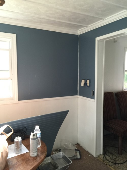 ... From The Dining Room To The Chair Rail To Add Color Or Is It Too Much  Blue? There Is A Fake Brick Feature Wall At One End Of The Room. Any Ideas?