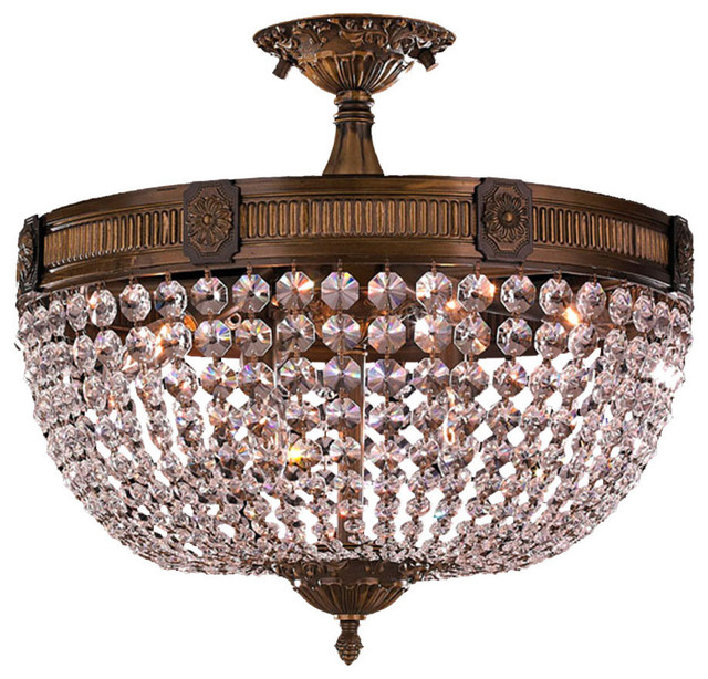 Opulent 6 light antique bronze finish crystal semi flush mount opulent 6 light antique bronze finish crystal semi flush mount ceiling light traditional flush aloadofball Gallery