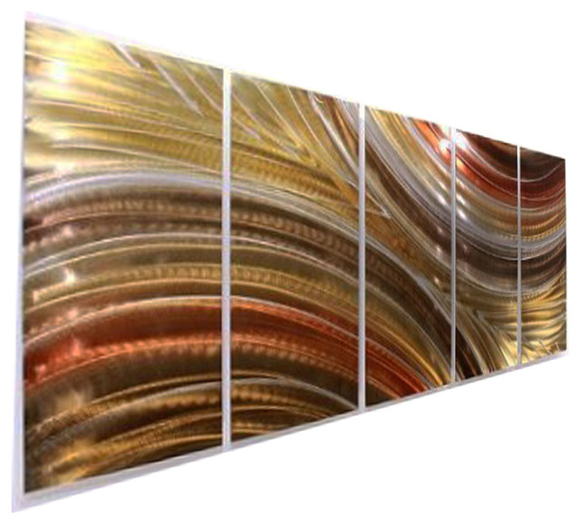 Gold And Bronze Earthtone Metal Wall Art Sculpture - Autumn Passion, 84x36.