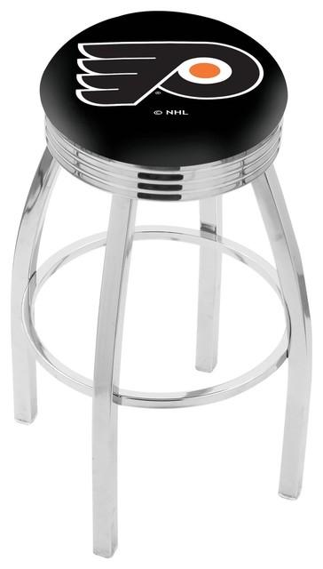 Superb 25 Chrome Philadelphia Flyers Black Swivel Bar Stool With 2 5 Ribbed Accent Inzonedesignstudio Interior Chair Design Inzonedesignstudiocom