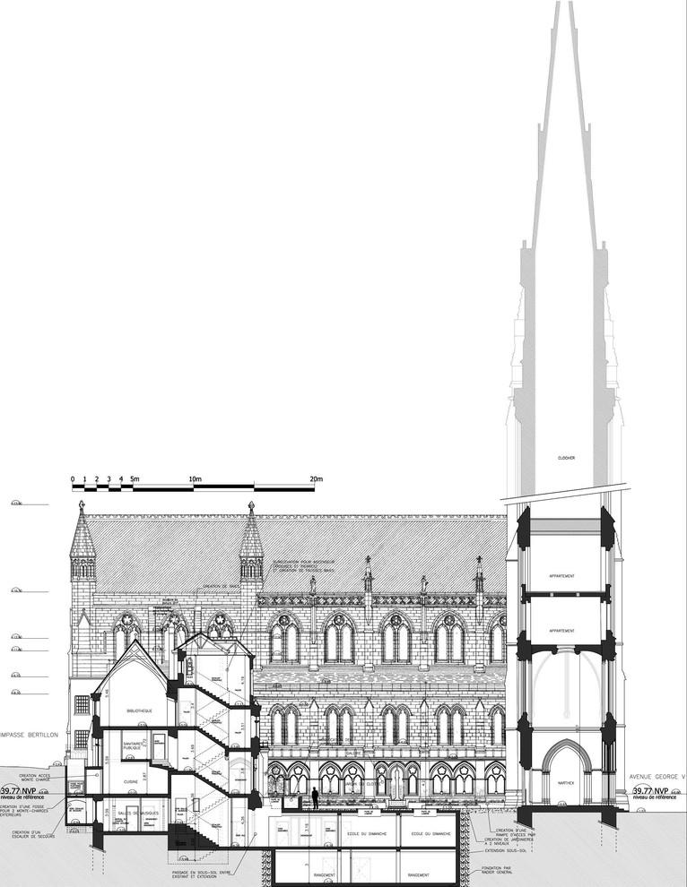 Restauration Av. George V - Cathédrale Américaine de la Sainte Trinité