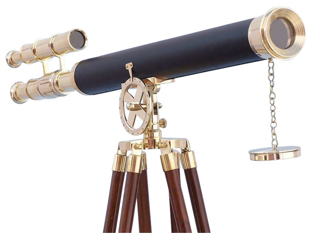 """Floor Standing Griffith Astro Telescope, Brass/Leather, 64"""""""