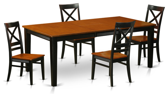 Dinette kitchen dining room table set with 18 leaf 60 78 for Traditional black dining room sets