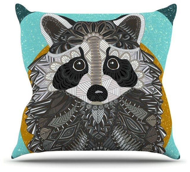 """Art Love Passion """"Raccoon in Grass"""" Gray Teal Throw Pillow"""