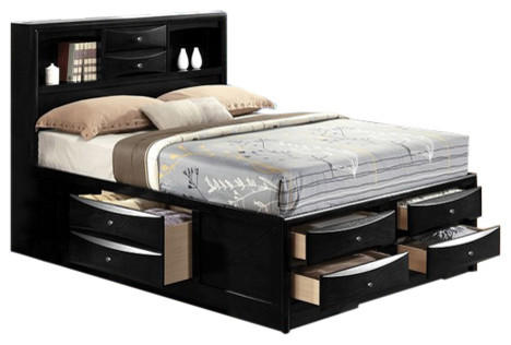 Ireland Black Finish Queen Size Captain S Bed Bookcase And Storage