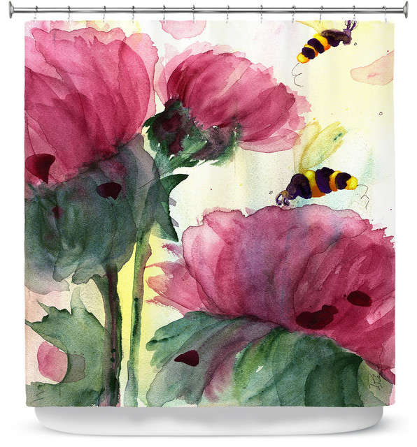 DiaNoche Designs Shower Curtain By Dawn Derman Bees In The Wildflowers