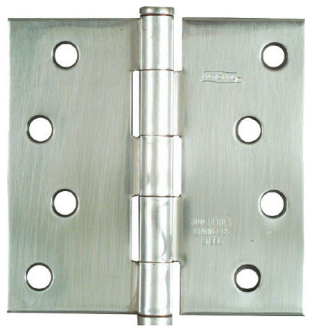 "3-1/2"" Stainless Steel Square Corner Full Mortise Door Hinge, 1 Piece - Modern - Hinges - by ..."