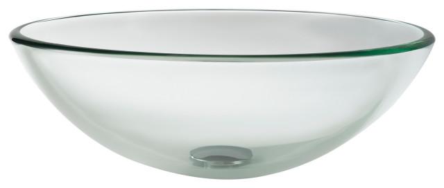 "Clear 16 1/2"" Glass Vessel Bathroom Sink"