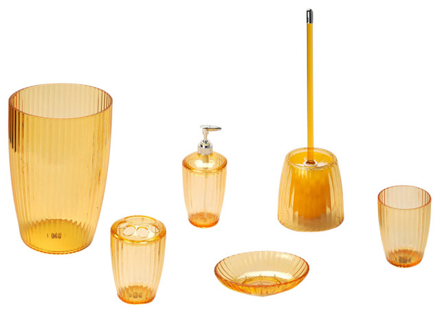 Carnation Home Orange Ribbed 5 Piece Acrylic Bath Accessory Set Bathroom Accessory Sets By