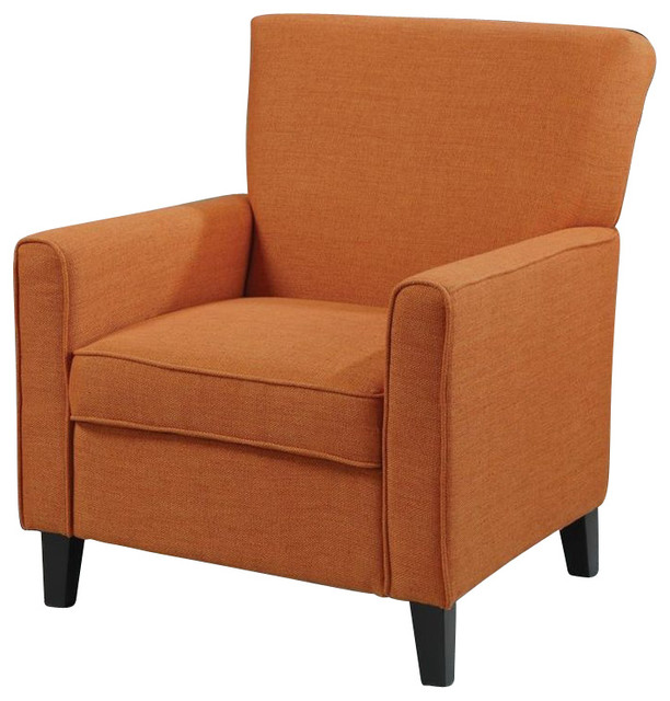 Contemporary Living Room Armchair With Wood Legs, Orange  transitional-armchairs-and-accent