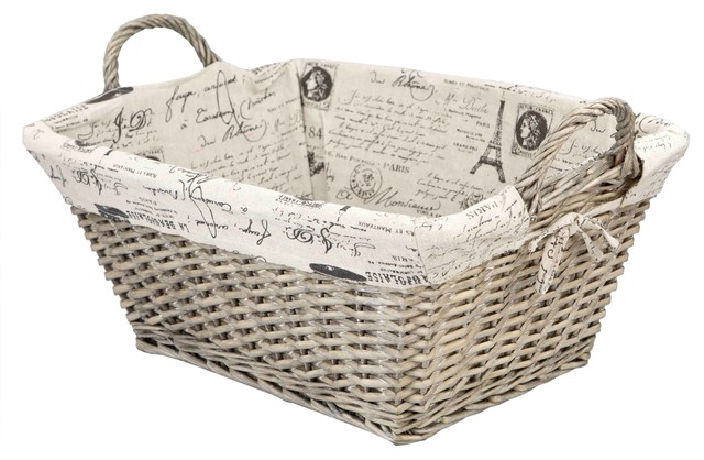 Home basics paris wicker hamper with liner traditional hampers by home basics - Wicker hampers with liners ...