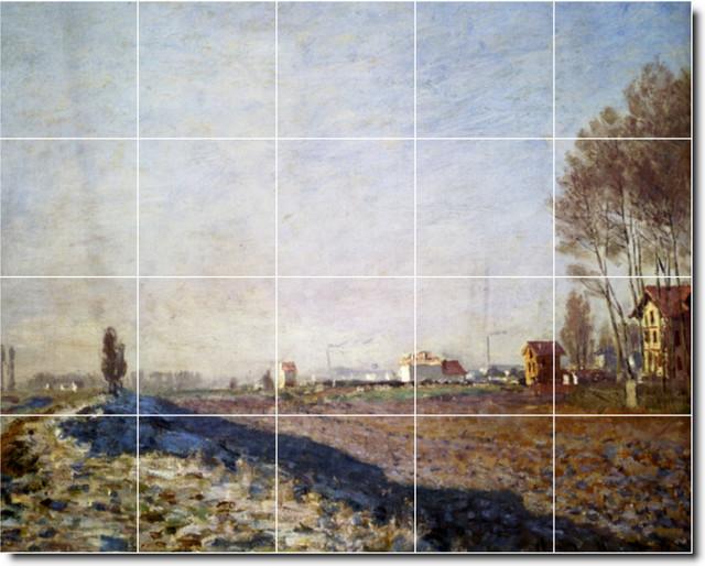 Claude monet country painting ceramic tile mural 97 for Ceramic mural artists