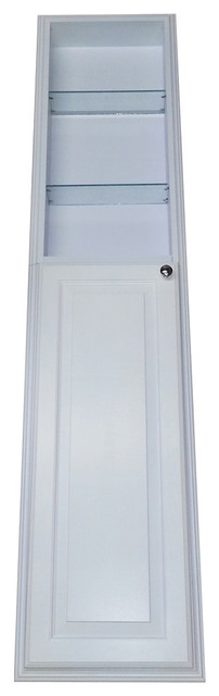 66 Recessed White Enamel Finished Montery Pantry Storage Cabinet With 30 Shelf.