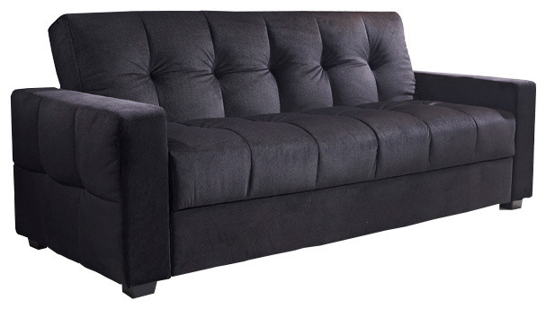 Miami Tufted Storage Futon Sofa Bed With Textured Linen Black Contemporary Futons