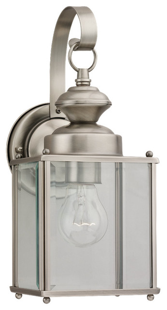 1-Light Outdoor Wall Lantern, Antique Brushed Nickel.