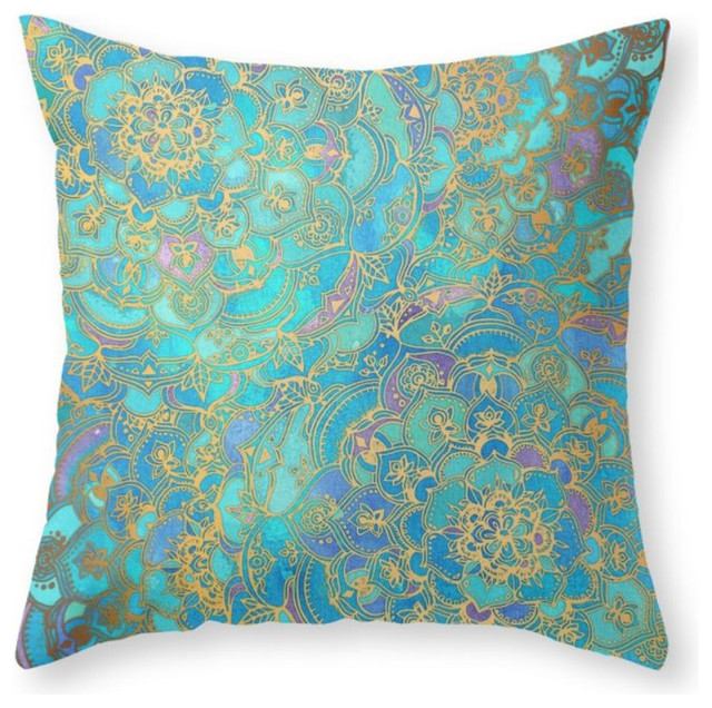 Jade Decorative Pillows : Sapphire and Jade Stained Glass Mandalas Throw Pillow - Mediterranean - Decorative Pillows - by ...