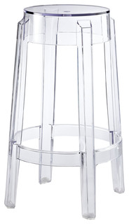 Modern Contemporary Dining Kitchen Counter Stool Clear Smoke