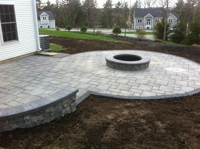 Unilock Thornbury permeable paver installation with fire pit & seat wall  traditional-patio - Unilock Thornbury Permeable Paver Installation With Fire Pit & Seat Wall