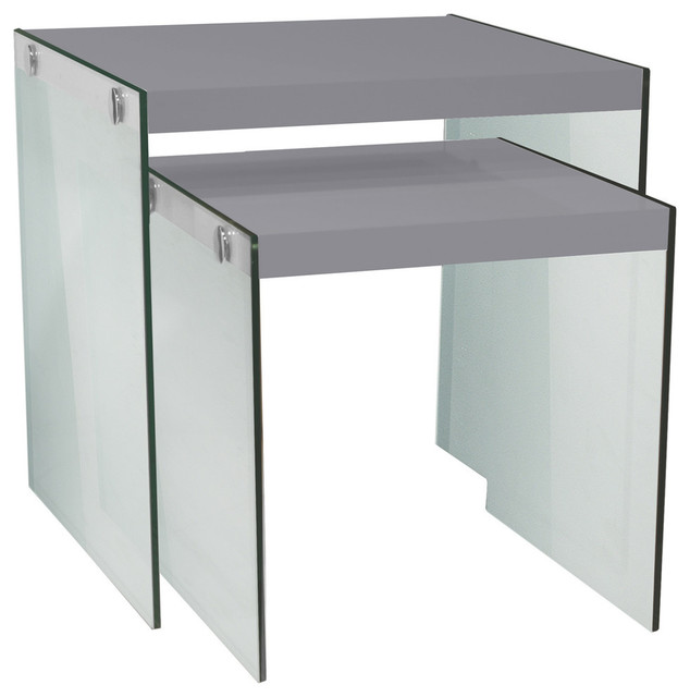 2 Piece Glossy Gray Nesting Table Set, Tempered Glass Contemporary Coffee  Table