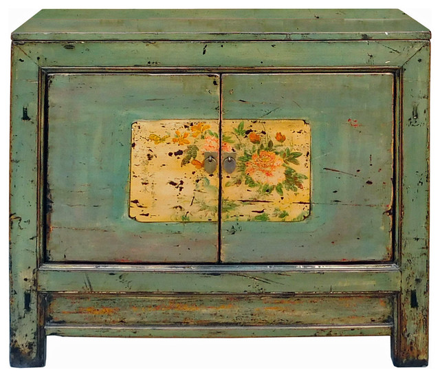 Chinese Distressed Blue Gray Flower Graphic Table Cabinet