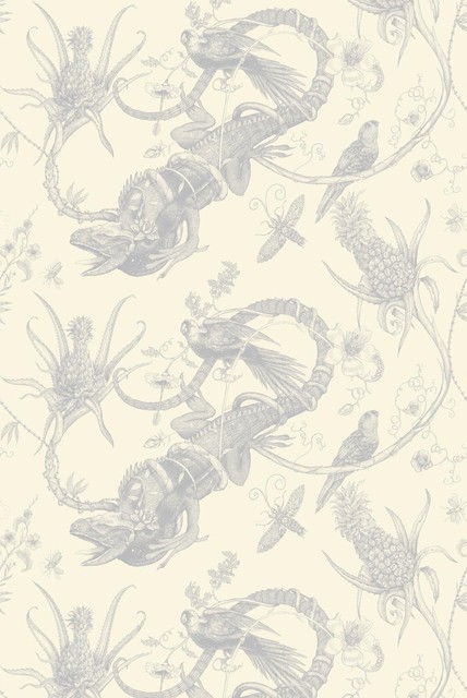 Iguana Superwide Wallpaper - Silver on Ivory