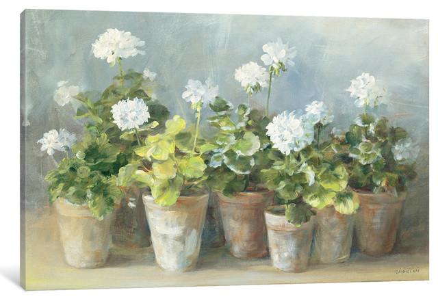 """White Geraniums Gallery"" by Danhui Nai, 40x26x1.5"""
