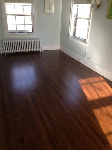 Red oak wood floors with dark walnut stain for Traditional flooring