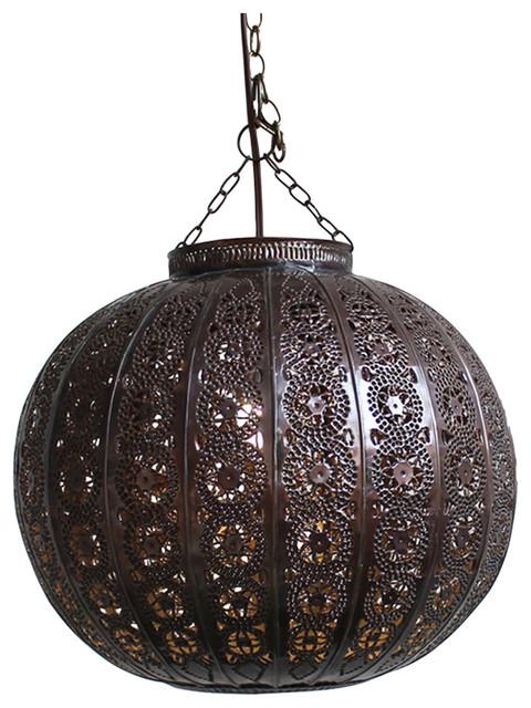 Metal Work Pumpkin Lantern rustic-pendant-lighting