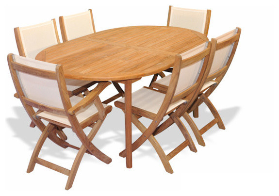 Teak Patio Dining Set, Oval Table And 6 Teak And Sling Folding Chairs  Transitional