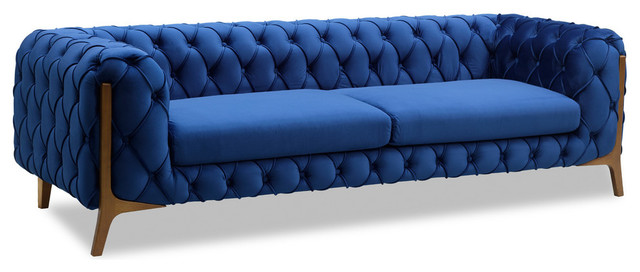 Jade Modern Tufted Sofa in Champagne finish with Dark Blue Velvet ...