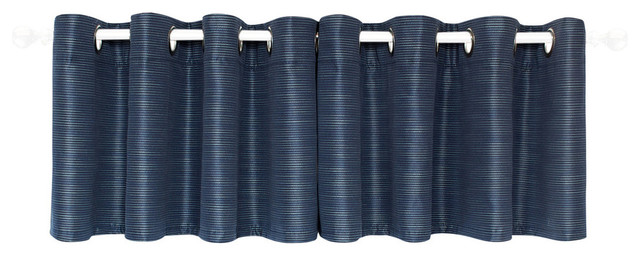 "United Curtain Co. Brighton 50""x18"" Straight Valance Navy."