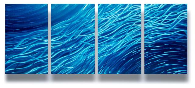 Ocean 4-Panel Metal Wall Art Decor, 63x24.