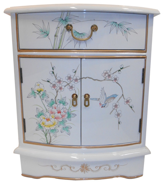 Oriental End Table Painted Bird And Flower White Lacquer Asian Side Tables By Furnishings