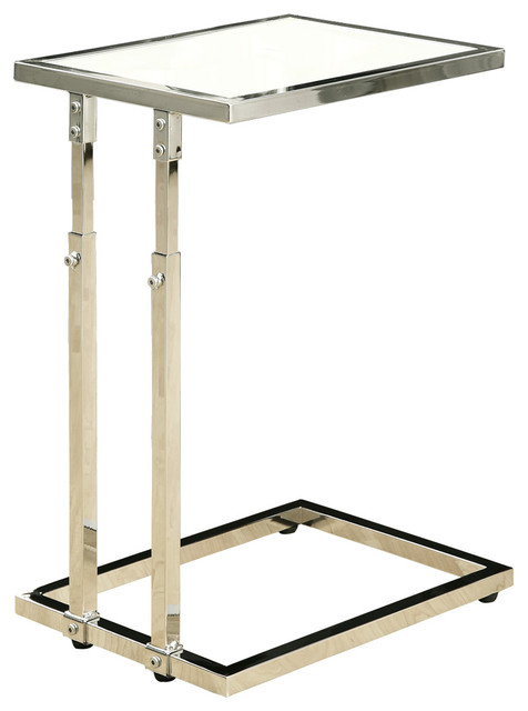 Accent Table Chrome Metal Adjustable Height Tempered