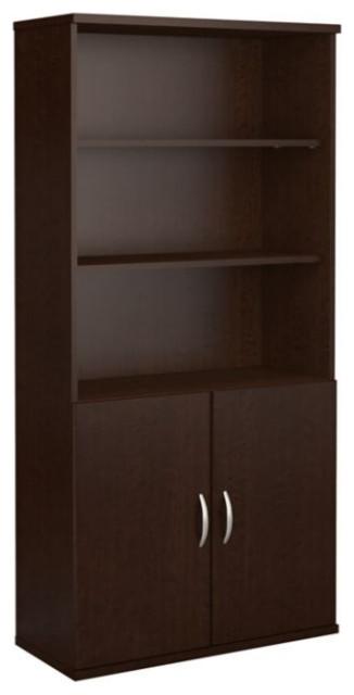5-Shelf Bookcase With Doors, Mocha Cherry