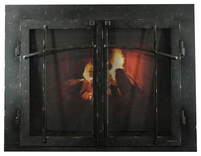 Superb Iron Fireplace Glass Door With Gate Mesh 4 Frame In Natural Finish 47X27 Download Free Architecture Designs Scobabritishbridgeorg