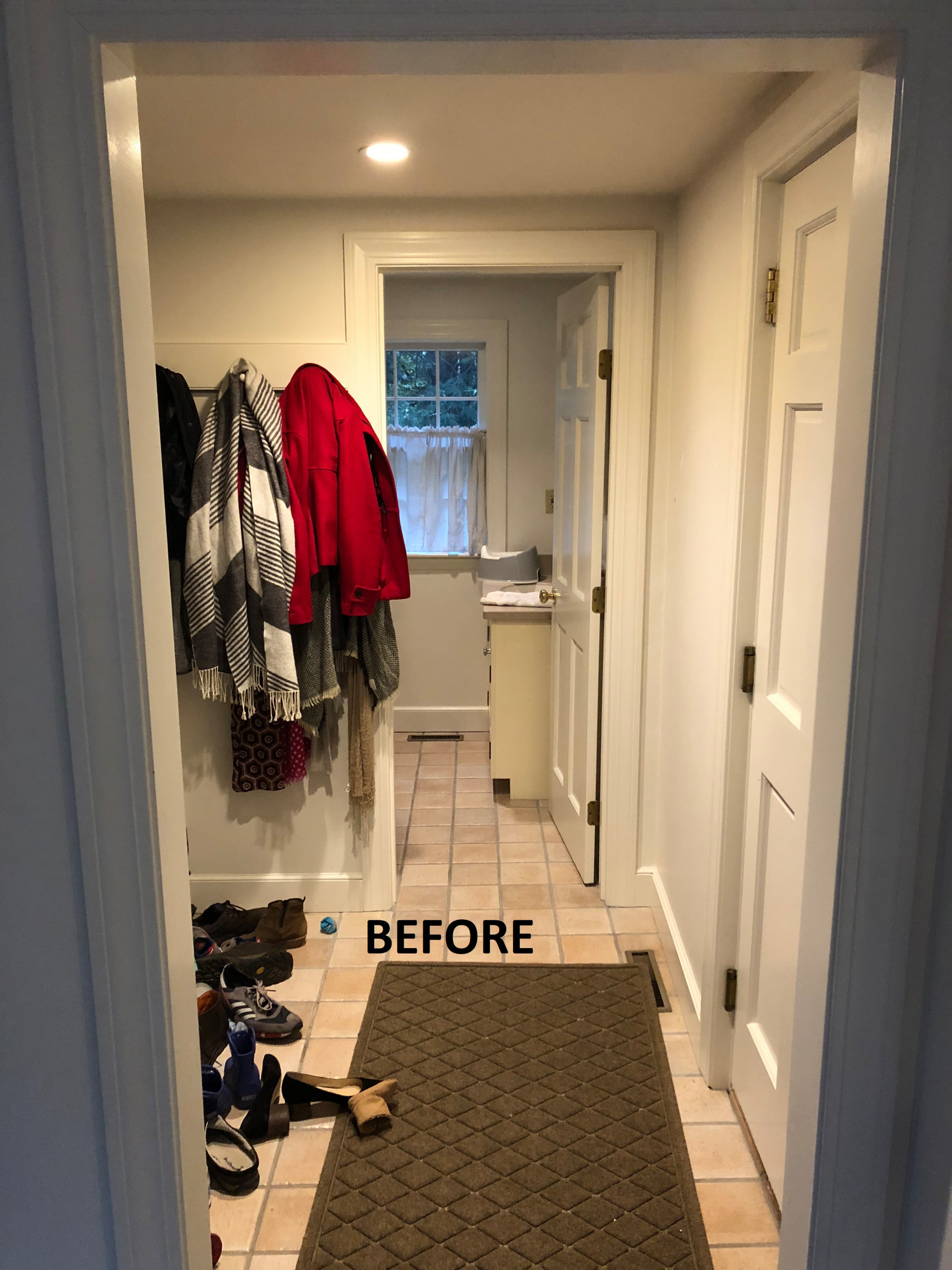 BEFORE Transitional Half Bath and Mudroom