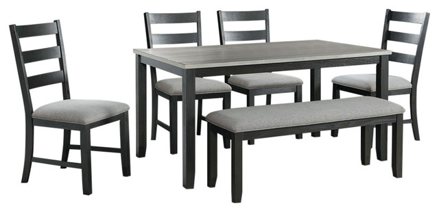 Admirable Picket House Furnishings Kona Gray 6Pc Dining Set Table Four Chairs Bench Gmtry Best Dining Table And Chair Ideas Images Gmtryco