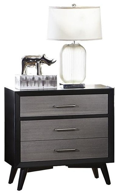AMOC Ranberg Mid Century Modern Nightstand, Gray For A