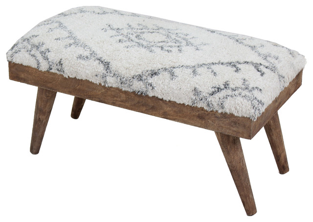 Soma Shaggy Cotton And Natural Mango Wood Bench. -1