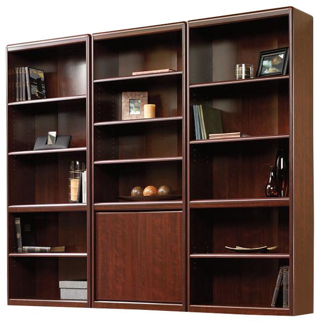 Sauder Cornerstone Library Bookcase Clic Cherry Transitional Bookcases