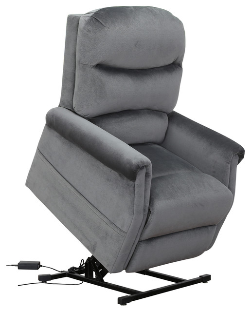 Classic Plush Power Lift Recliner Living Room Chair, Blue Transitional  Recliner Chairs