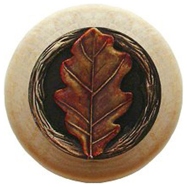 Inviting Home Inc Oak Leaf Natural Wood Knob (unfinished with hand-tinted brass) - Cabinet And ...