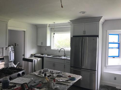 please help me pick a paint color kitchen is white shaker cabinets l